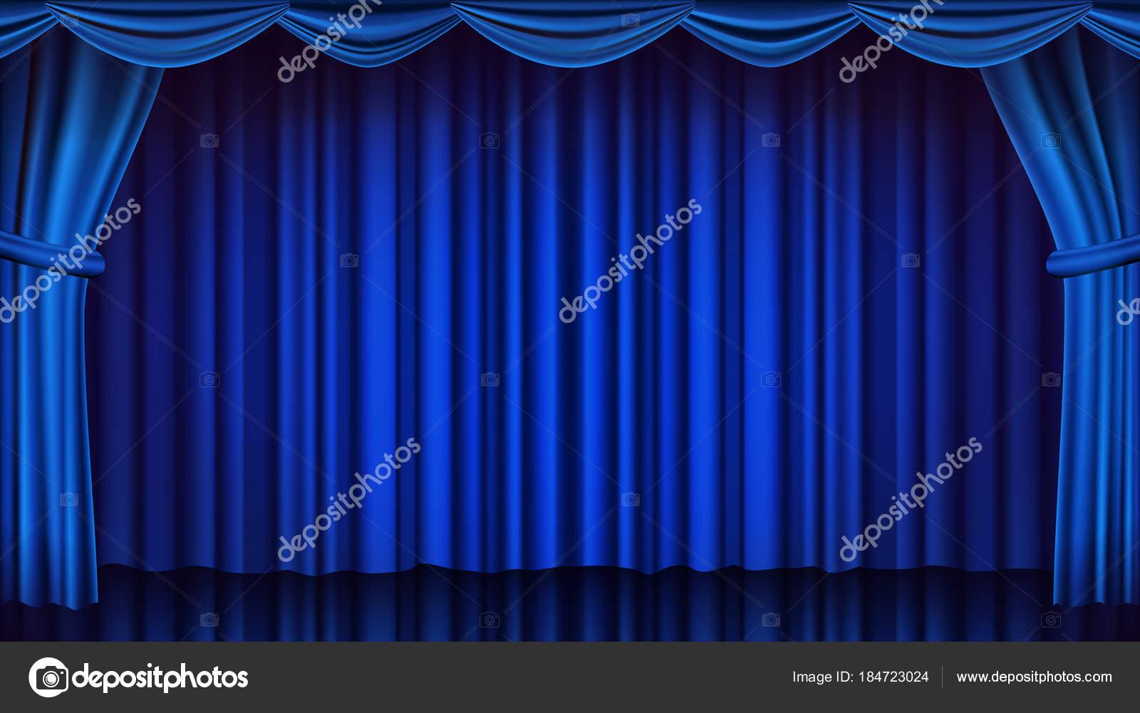 Blauw Theater gordijn Vector. Theater, Opera of bioscoop gesloten ...