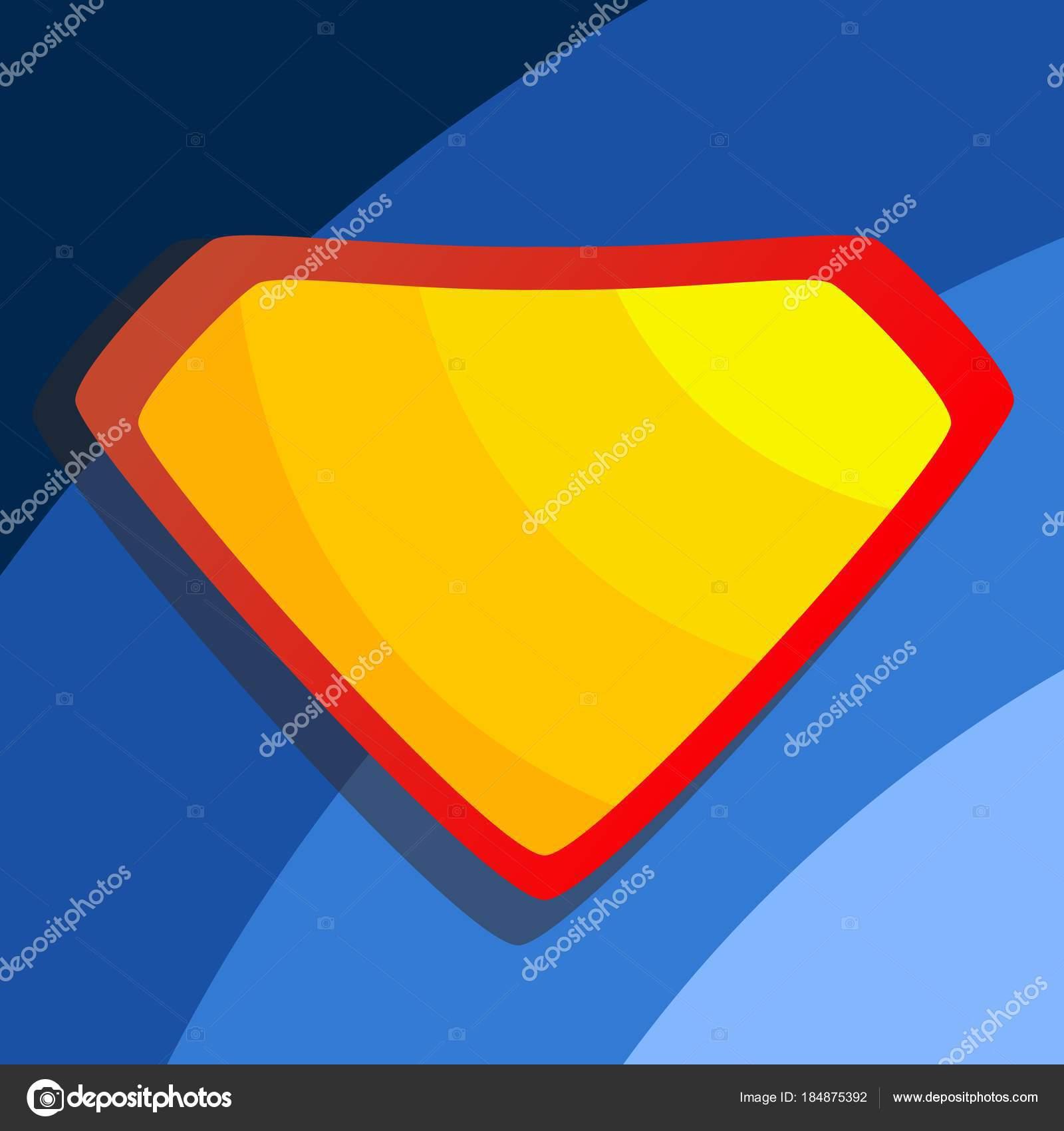 Superheld Logo Vektor. Gelbe, rote Schild. Emblem-Vorlage. Flache ...