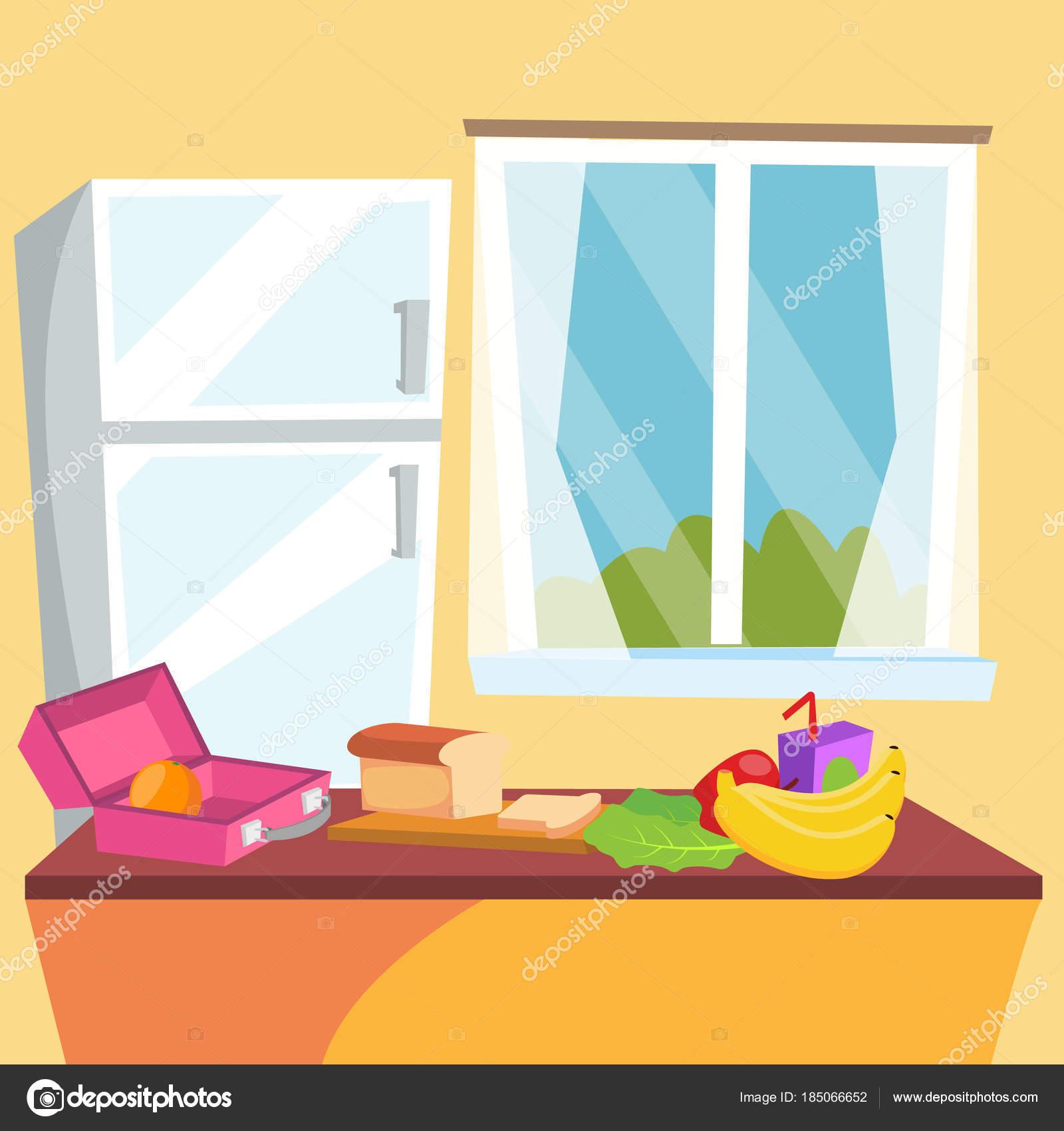 vecteur de dessin anim de cuisine salle manger maison. Black Bedroom Furniture Sets. Home Design Ideas