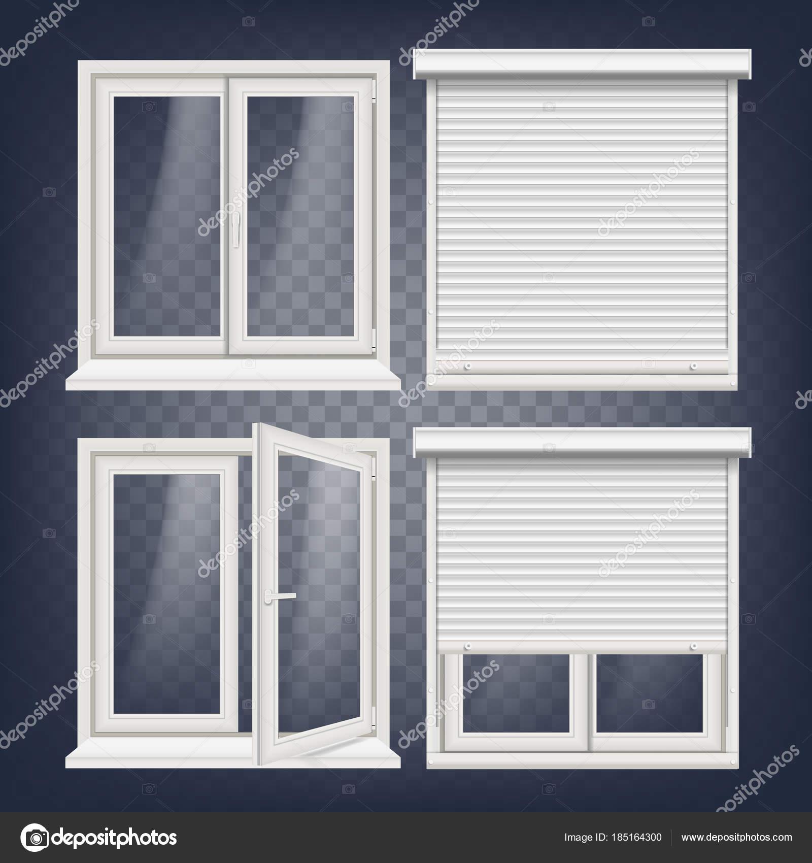 Vector de ventana plástica. Persiana metálica blanca. Ventanas de ...