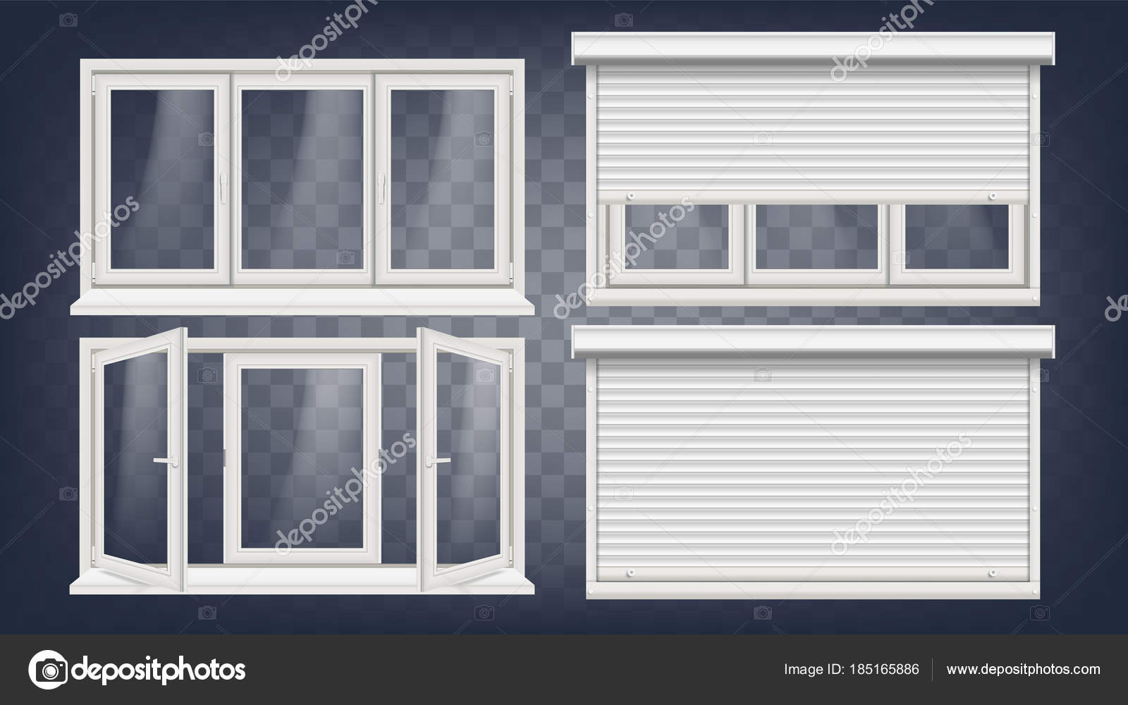 Plastic PVC Window Vector. Roller Blind. Opened And Closed. Front ...