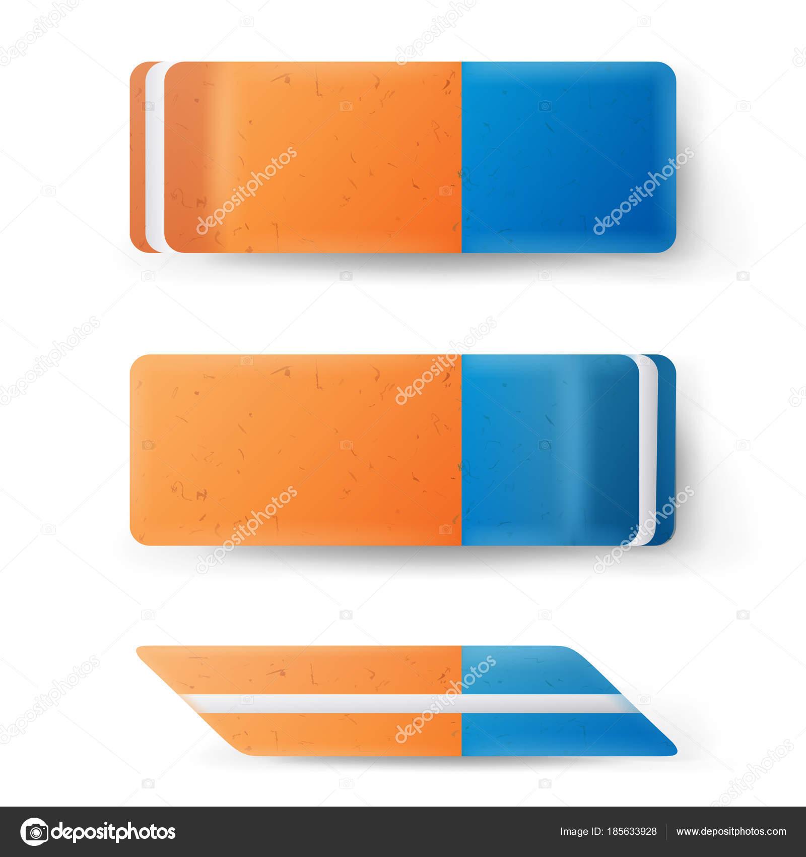 消しゴム分離ベクトル古典的な青オレンジのゴム印リアルなイラスト