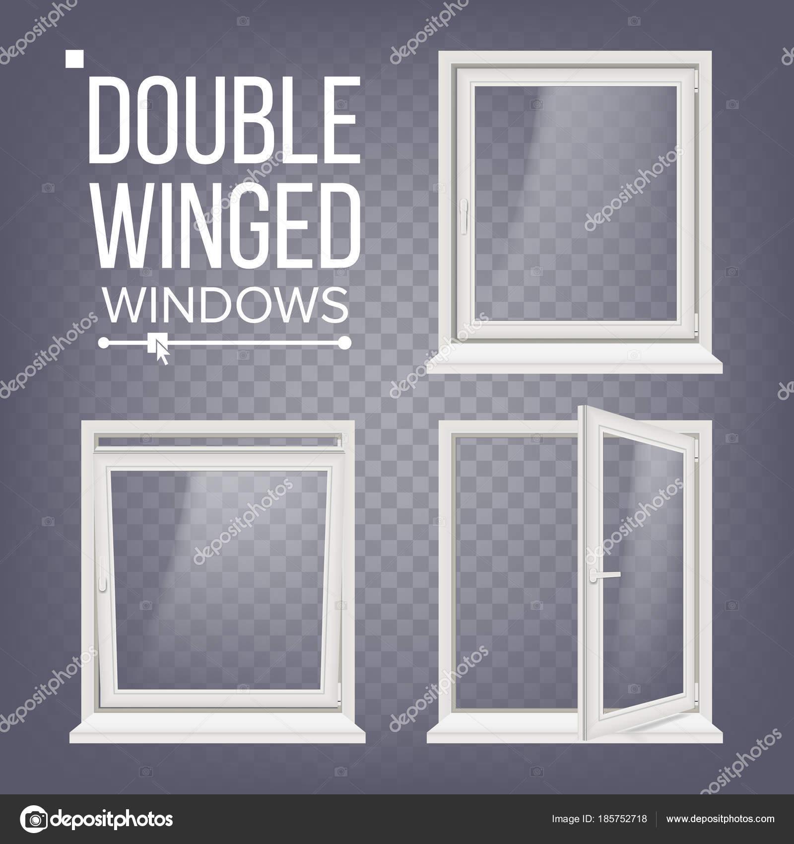 Kunststoff Pvc-Fenster Vektor. Zweiflügelige. Geöffnet und ...