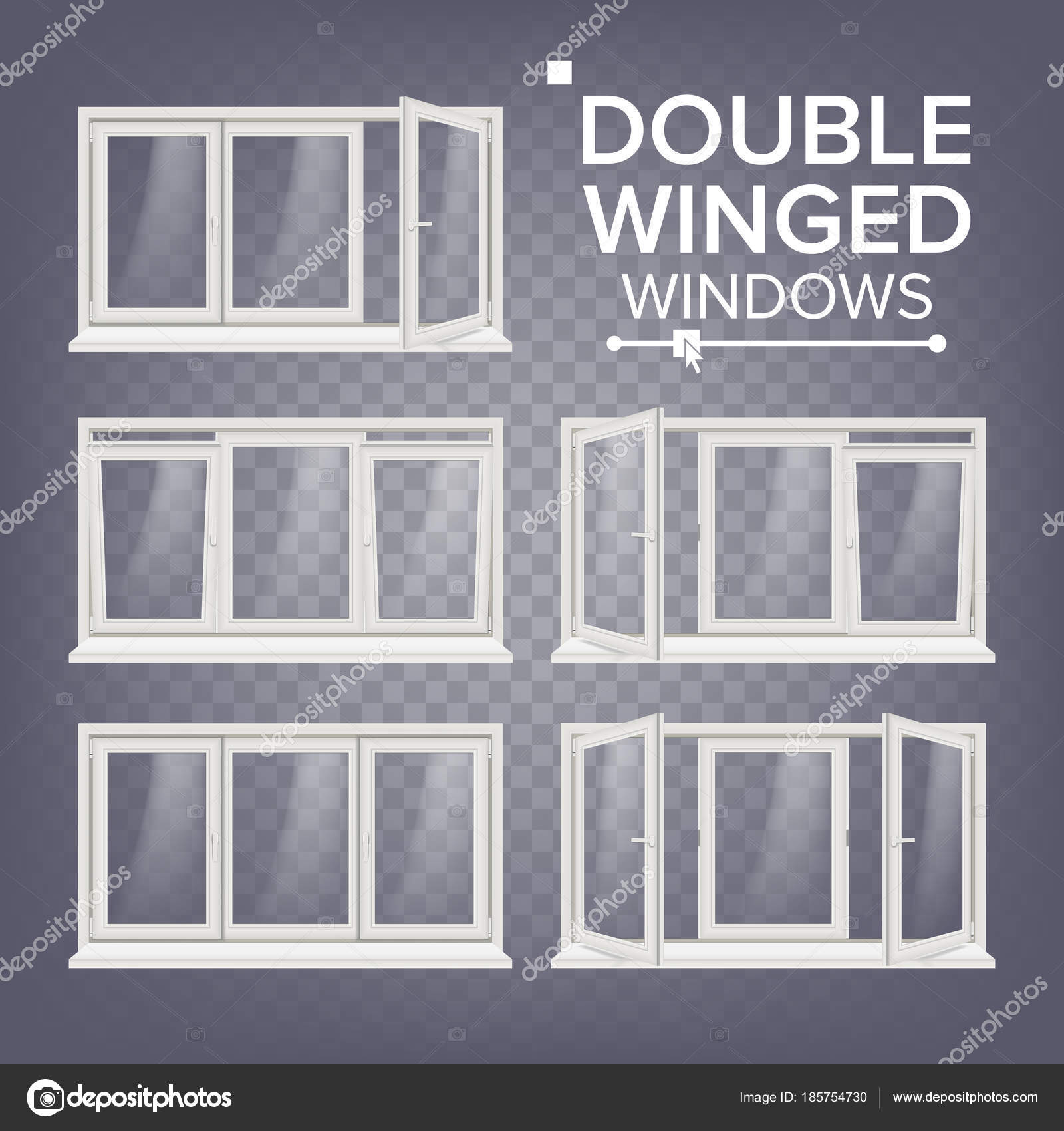 Kunststoff-Fenster-Vektor. Zweiflügelige. Weiß. PVC-Fenster ...