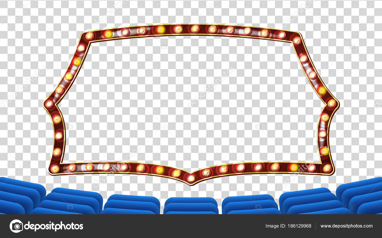 Blue Theater Curtain With Light Frame Vector. Blue Background And ...