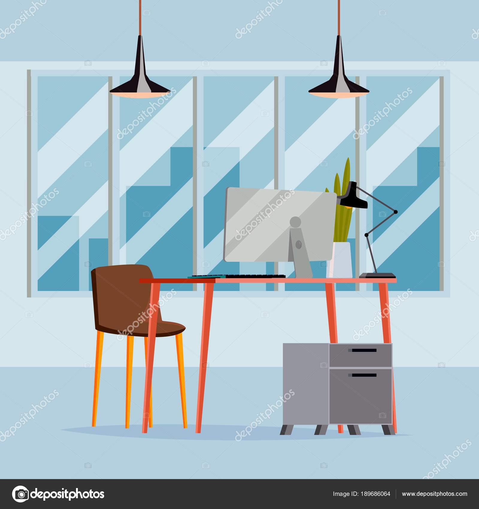 Office Interior Vektor. Geschäft Büroarbeitsplatz. Moderne ...