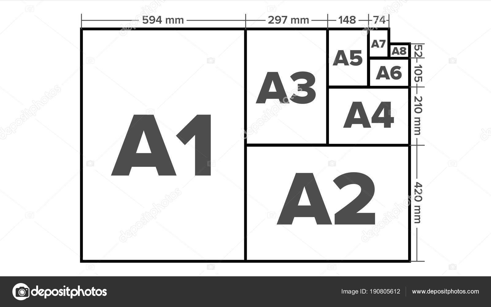 vetor de tamanhos de papel a1 a2 a3 a4 a5 a6 a7 a8 formatos
