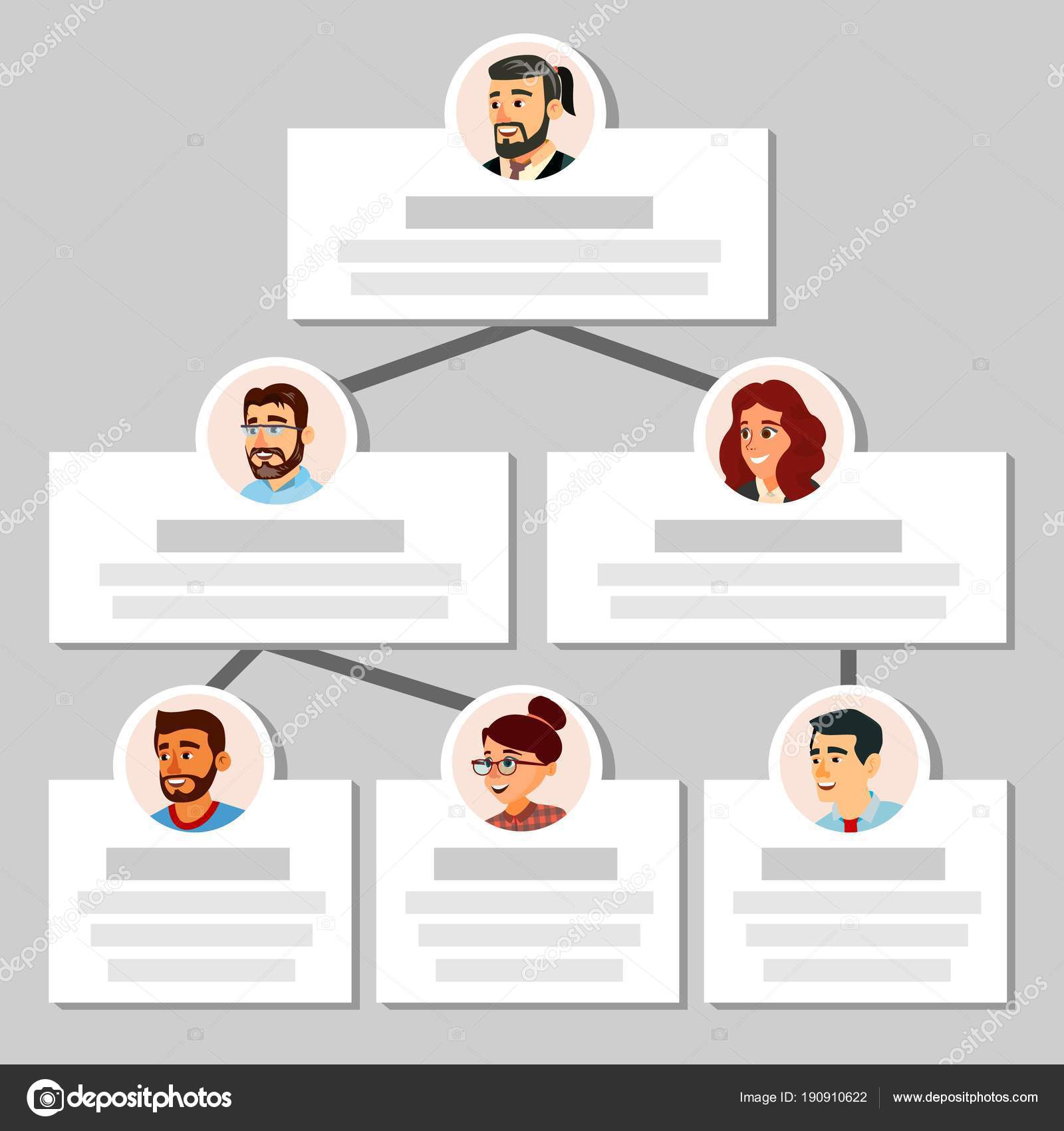 Colleagues Working Flow Chart Vector. Employee Avatars. Team Pyramid ...