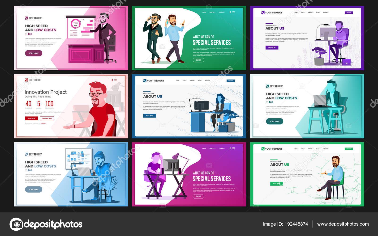 Website Design Template Set Vector. Business Landing. IT Technology. Modern Online  Services Architecture