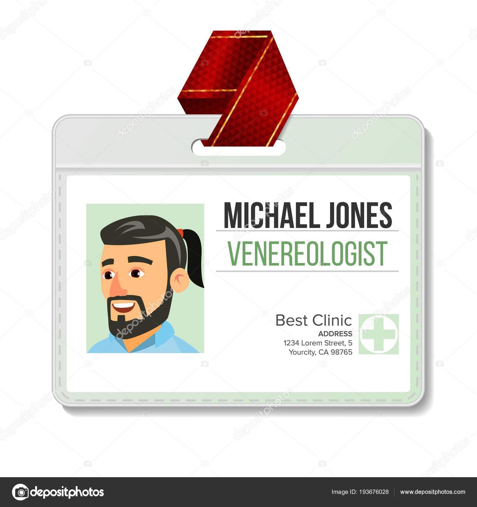 Venereologist Vector de gafete de identificación. Hombre. plantilla ...