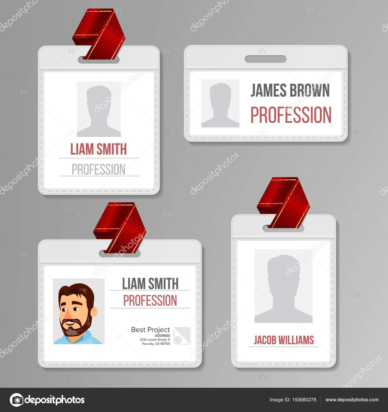 Identification Badge Set Vector. Id Card Blank. Name Template ...