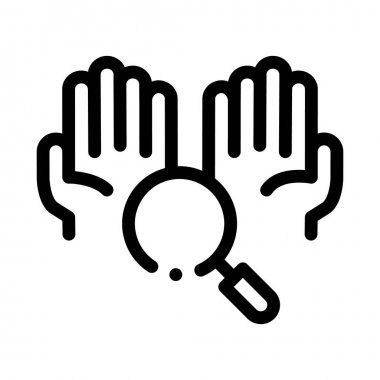 Hands And Magnifier Icon Vector. Outline Hands And Magnifier Sign. Isolated Contour Symbol Illustration icon