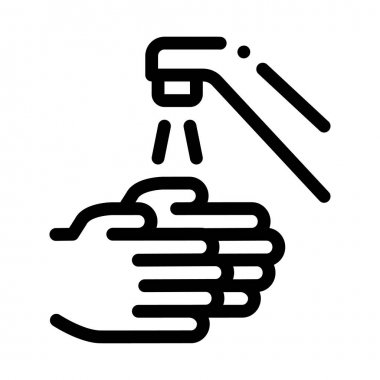 Hands Washing Water Tap Icon Vector. Outline Hands Washing Water Tap Sign. Isolated Contour Symbol Illustration icon