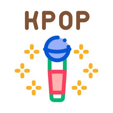 Kpop Microphone Icon Vector. Outline Kpop Microphone Sign. Isolated Contour Symbol Illustration icon