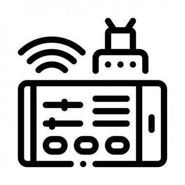 Phone Control Icon Vector Outline Illustration