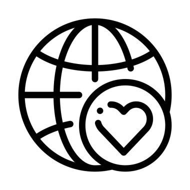 Earth Globe Love Icon Vector. Outline Earth Globe Love Sign. Isolated Contour Symbol Illustration icon