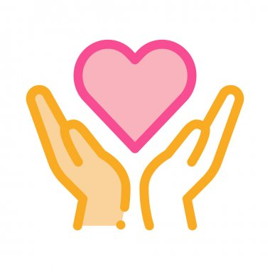 Hands Hold Heart Icon Vector. Outline Hands Hold Heart Sign. Isolated Contour Symbol Illustration icon