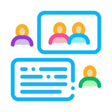 People Discussing Icon Vector. Outline People Discussing Sign. Isolated Contour Symbol Illustration icon