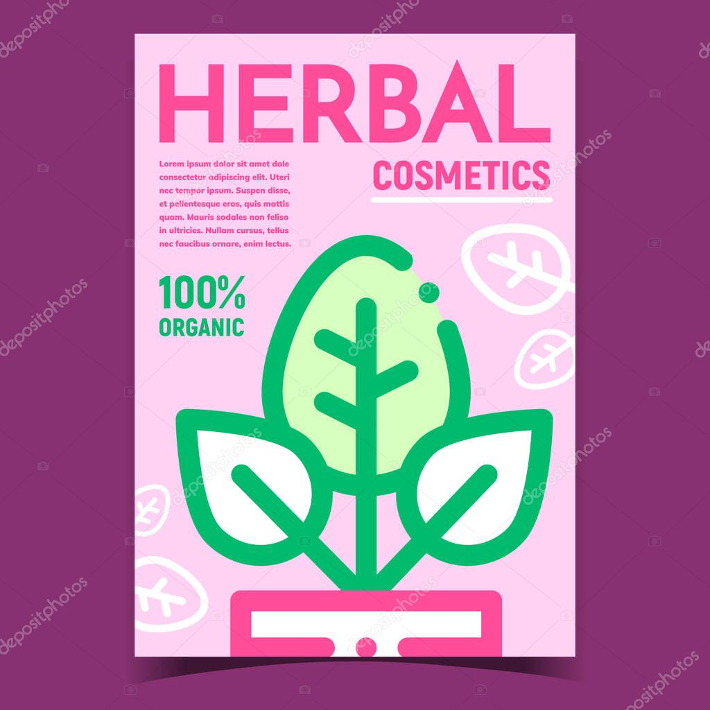 Herbal Cosmetics Creative Advertise Banner Vector Nature Plant With Green Leaves In Pot For Eco Clean Cosmetics Organic Hygiene Skincare Cream Concept Template Stylish Colorful Illustration Premium Vector In Adobe Illustrator