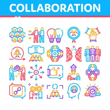 Collaboration Work Collection Icons Set Vector. Human And Brain Collaboration, Worker Research And Handshake, Cooperation And Organization Concept Linear Pictograms. Color Illustrations icon