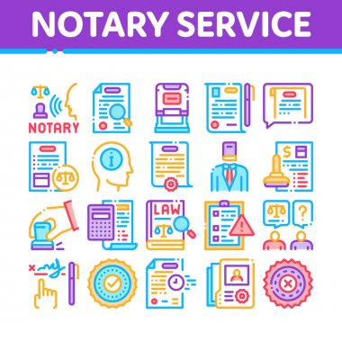 Notary Service Agency Collection Icons Set Vector. Agreement And Law Research, Document With Stamp And Signature, Notary Service Information Concept Linear Pictograms. Color Illustrations icon