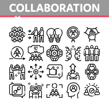 Collaboration Work Collection Icons Set Vector. Human And Brain Collaboration, Worker Research And Handshake, Cooperation And Organization Concept Linear Pictograms. Monochrome Contour Illustrations icon