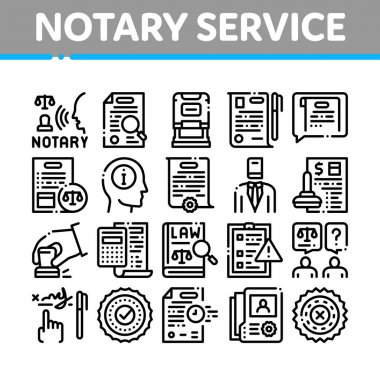 Notary Service Agency Collection Icons Set Vector. Agreement And Law Research, Document With Stamp And Signature, Notary Service Information Concept Linear Pictograms. Monochrome Contour Illustrations icon