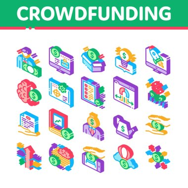 Crowdfunding Business Collection Icons Set Vector. Crowdfunding Financial Web Site And Book, Dollar Banknote And Coin, Brain And Box Isometric Illustrations icon