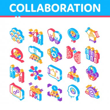 Collaboration Work Collection Icons Set Vector. Human And Brain Collaboration, Worker Research And Handshake, Cooperation And Organization Isometric Illustrations icon