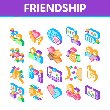 Friendship Relation Collection Icons Set Vector. Handshake And Friendship Gesture, Love And Partnership, Internet Communication Isometric Illustrations icon