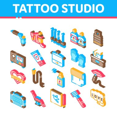 Tattoo Studio Tool Collection Icons Set Vector. Tattoo Studio Machine And Razor Equipment, Chair And Case, Cream And Ink Bottles Isometric Illustrations icon