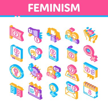 Feminism Woman Power Collection Icons Set Vector. Feminism Symbol On Flag And Gps Mark, Lesbians And Hand Hold Scales, Equality And Love Isometric Illustrations icon