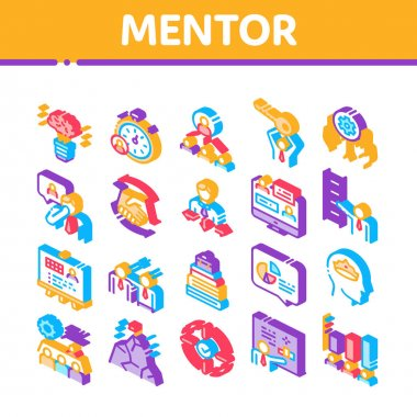 Mentor Relationship Collection Icons Set Vector. Human Holding Key And Gear, Stopwatch And Mountain With Flag, Mentor Isometric Illustrations icon