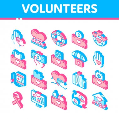 Volunteers Support Vector Icons Set. Volunteers Support, Charitable Organizations Pictograms. Blood Donor, Food Donations, Financial Help, Humanitarian Aid Isometric Illustrations icon