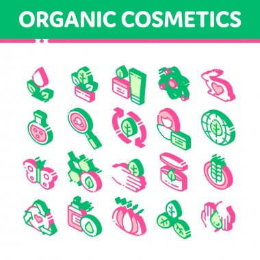 Organic Cosmetics Vector Icons Set. Organic Cosmetics, Natural Ingredient Pictograms. Eco-friendly, Cruelty-free Product, Molecular Analysis, Scientific Research Isometric Illustrations icon