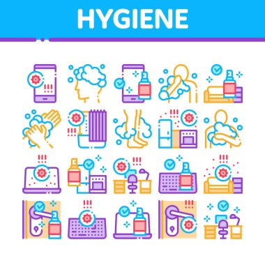 Hygiene And Healthcare Collection Icons Set Vector. Cleaning Mobile Phone And Handle Sanitized Antiseptic, Wash Hand, Head And Body Hygiene Concept Linear Pictograms. Color Illustrations icon