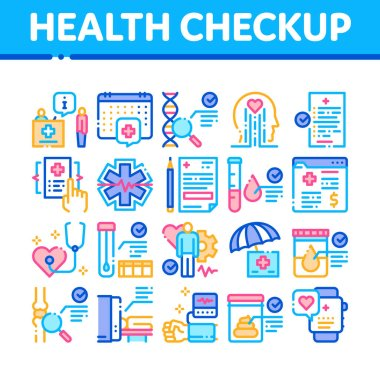 Health Checkup Medical Collection Icons Set Vector. Healthcare Checkup List And Calendar Date, Fitness Tracker And Analysis Container Concept Linear Pictograms. Color Illustrations icon