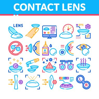 Contact Lens Accessory Collection Icons Set Vector. Contact Lens On Finger, Eyedropper With Liquid, Eye Tool Information On Computer Screen Concept Linear Pictograms. Color Illustrations icon