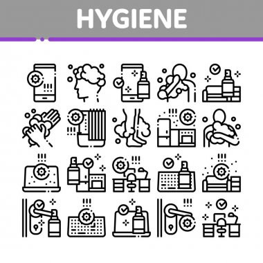 Hygiene And Healthcare Collection Icons Set Vector. Cleaning Mobile Phone And Handle Sanitized Antiseptic, Wash Hand, Head And Body Hygiene Concept Linear Pictograms. Monochrome Contour Illustrations icon