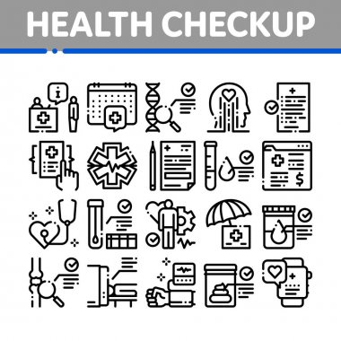 Health Checkup Medical Collection Icons Set Vector. Healthcare Checkup List And Calendar Date, Fitness Tracker And Analysis Container Concept Linear Pictograms. Monochrome Contour Illustrations icon