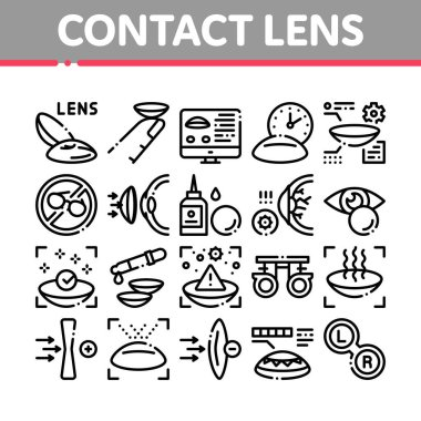 Contact Lens Accessory Collection Icons Set Vector. Contact Lens On Finger, Eyedropper With Liquid, Eye Tool Information On Computer Screen Concept Linear Pictograms. Monochrome Contour Illustrations icon