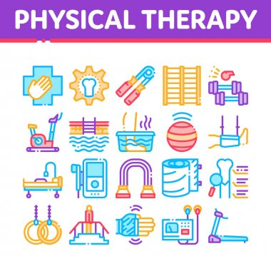 Physical Therapy And Recovery Icons Set Vector. Treadmill And Exercise Bike, Dumbbells And Ball Equipment For Physical Therapy Concept Linear Pictograms. Color Illustrations icon