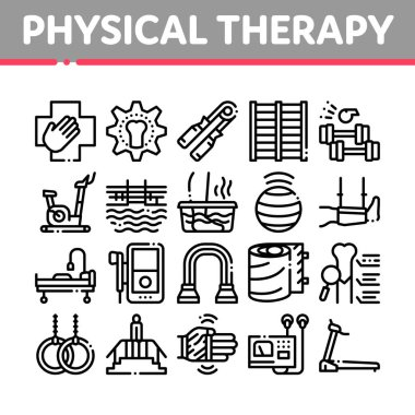 Physical Therapy And Recovery Icons Set Vector. Treadmill And Exercise Bike, Dumbbells And Ball Equipment For Physical Therapy Concept Linear Pictograms. Monochrome Contour Illustrations icon