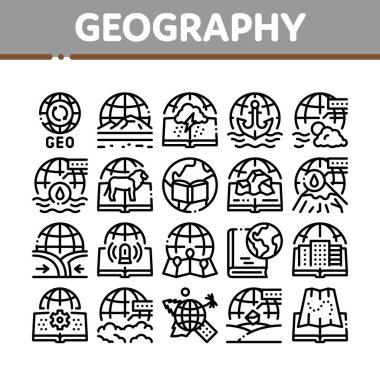 Geography Education Collection Icons Set Vector. History And Urban Geography, Climatology And Oceanology, Meteorology And Hydrology Concept Linear Pictograms. Monochrome Contour Illustrations icon