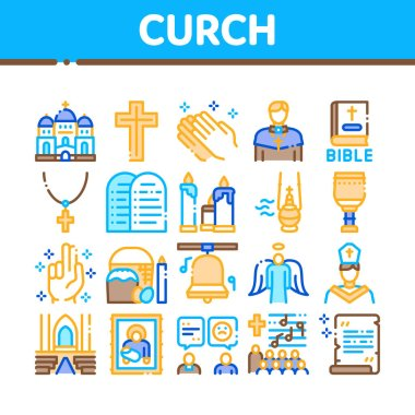 Church Christianity Collection Icons Set Vector. Church Building And Interior, Christian Religion Bible And Cross, Candles And Bell Concept Linear Pictograms. Color Illustrations icon