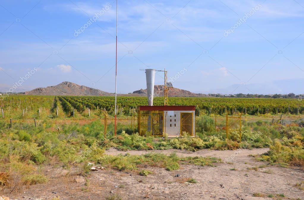 Anti-hail plant in the vine plantations. Lusarat, Armenia