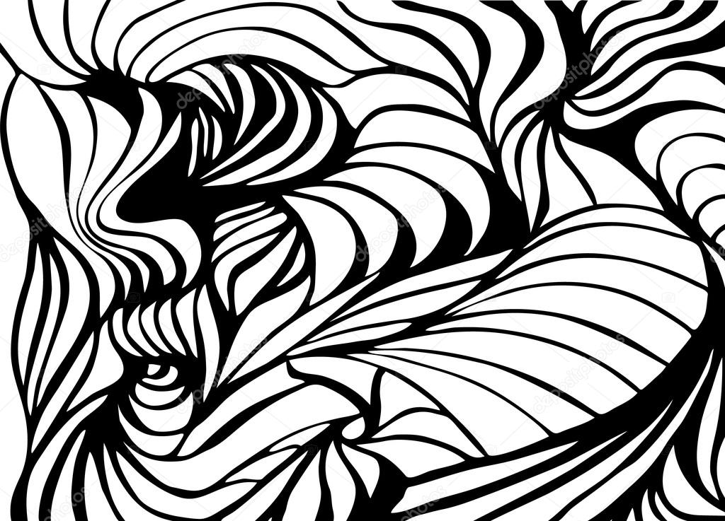 Abstract black and white wavy stripes vector background