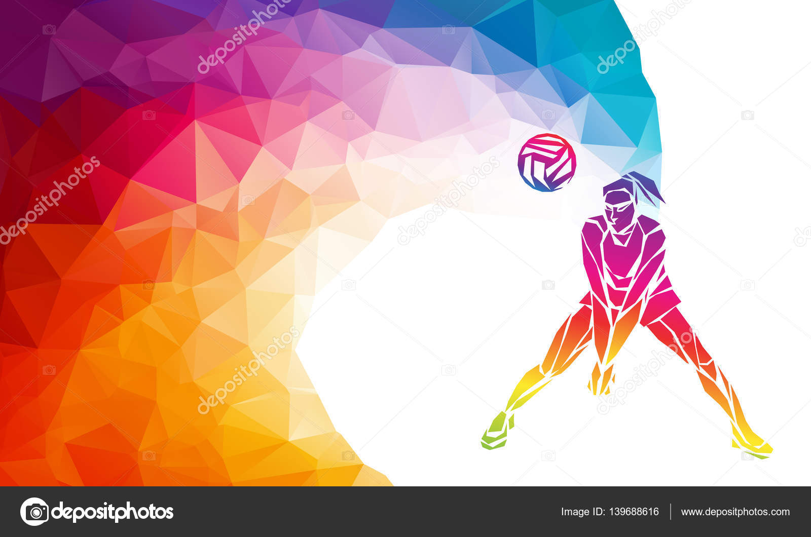 Abstract Design Of A Beach Volleyball Player Vector Image: Volleyball Player. Team Sport Vector Polygonal Banner
