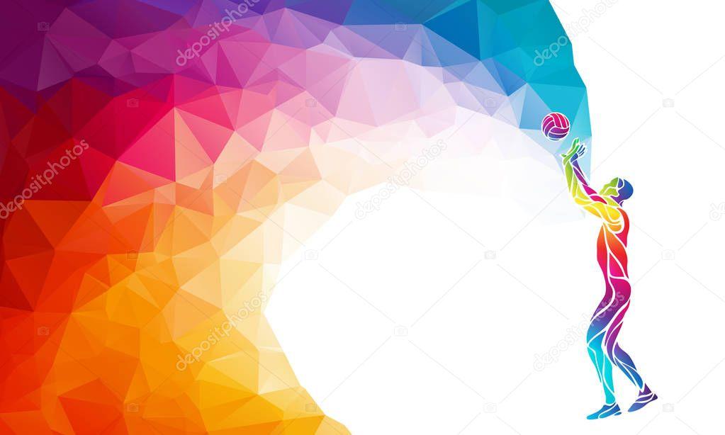 バレーボール プレーヤー セッター ポジションの色シルエット