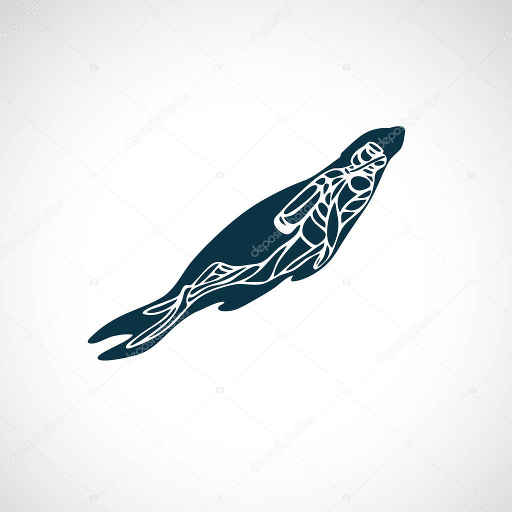 Scuba Diver and Seal Animal Silhouette